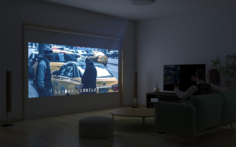 お家でも大画面で映画が楽しめるようにリビングに「シネマウィンドウ」を設置した事例 (3)