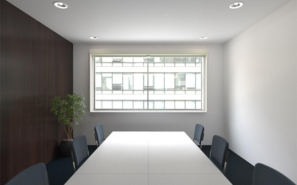 会議室をプレゼンルームにもできるよう「シネマウィンドウ」を設置した事例 (1)