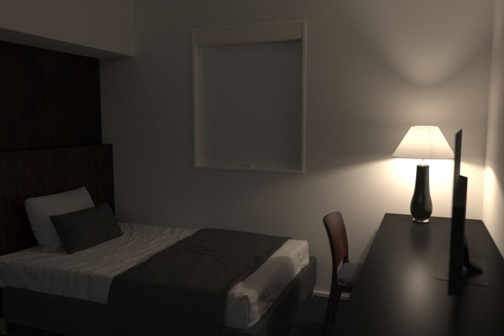 昼間でも安眠できるようにビジネスホテルに「シネマウィンドウ」を設置した事例 (1)