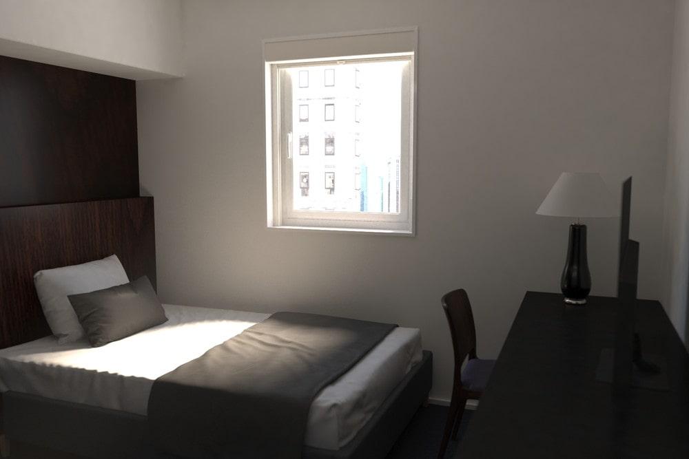 昼間でも安眠できるようにビジネスホテルに「シネマウィンドウ」を設置した事例 (3)
